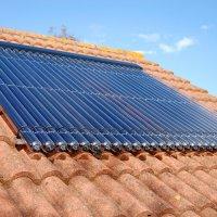 evacuated tube solar panels on roof